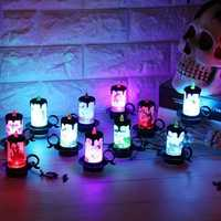 Battery Powered Halloween Decoration LED Candle Flameless Tea Night Light for Haunted House Party