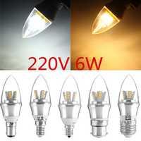 E27/E14/E12/B22/B15 6W LED Warm White/White 25SMD 2835 Silver Candle Light Bulb Lamp 220V