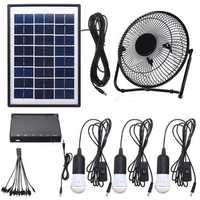 3*3W Solar Power Panel USB Charging LED Light with Fan Kit for Home Outdoor Camping