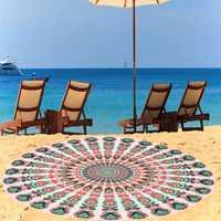 140cm Thin Chiffon Bohemia Round Beach Yoga Towel Mandala Bed Sheet Tapestry Tablecloth Decor