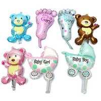 Baby Girl Boy Birthday Party Balloon Stroller Foot Bear Balloons Party Decoration