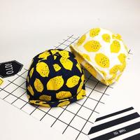 Baby Boys Girls Lemon Printed Hat Cute Cotton Summer Sunshade Caps Soft Brim Baseball Caps