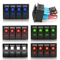 4 Gang 12V 24V Marine Boat LED Light Bar Fog Work Spot Rocker Switch Panel
