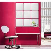 Honana BX-190 Mirror 3D Acrylic Silver Wall Sticker Decal Bathroom DIY Square Mirror Sticker
