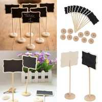 Christmas Wooden Mini Wood Chalkboard Blackboard Place Card Holder Table Number for Wedding Event Party Decoration