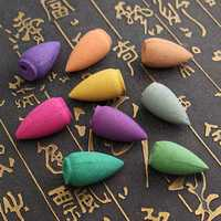 50Pcs/Bag Backflow Incense Cones Sandalwood Jasmine Lily Lavender Mixed Fragrance Burner Censer Cone