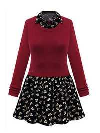 Women Plus Size Fake Two-piece Knitting Splicing Long Sleeve Dress