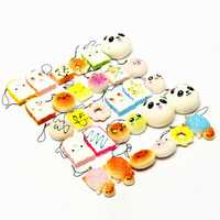 Banggood Kawaii 10Pcs Exquisite Squishy Random Charm Soft Panda/Bread/Cake/Buns Phone Straps Toys Decor