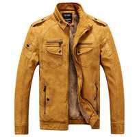 Mens Winter Velvet Plus Thick Warm Stylish Motor Yellow Faux Washed Leather Jackets