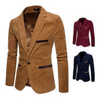 Mens Business Vintage Corduroy Stitching Color Casual Suit