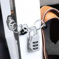 KCASA LK-24 3 Digit Combination Lock Outdoor Travel Security Padlock Password Lock with Braided Steel Cable