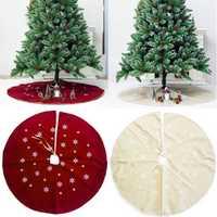 120cm Christmas Tree Skirt Cloth Ruffle Cotton Border Xmas Floor Mat Home Decor Floor Mat
