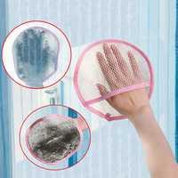 Screen Window Clean Cloth Car Window Wash Mitt Mesh Curtain Mop Wipe
