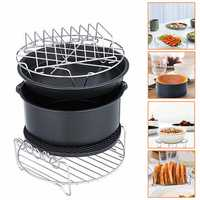 8inch 6Pcs Healthy Air Fryer Oil Free Appliances Accessory Set Cake Pizza BBQ Barbecue Baking Cooker