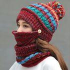 Meilleurs prix Women Winter Warm Thicken Plus Velvet Knit Hat Scarf Set