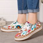 Bon prix Women Folkways Printing Comfy Non Slip Casual Chunky Flats Shoes