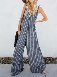 V-neck Sleeveless Striped Pockets Wide Legged Jumpsuit