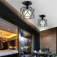 Industrial Vintage Metal Cage Pendant Lamp Diamond Shape Metal Ceiling Light for Bar Kitchen AC110V