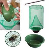 Mosquito Insect Catching Net Folding Mosquito Capture Catching Fly Mesh Net Hanging Trap Insect Bug Killer-flies Mesh Net Flying Catcher Trap with Pot