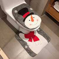 2PCS Non-woven Fabric Christmas Santa Toilet Seat Covers Cushion Bath Mat Set