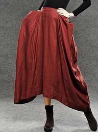 Women Elastic Waist Pleated Skirt