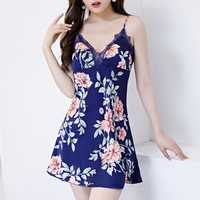 Silk Lace Floral Printed Slim Sleeveless Sleepwear