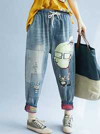 Women Patchwork Cartoon Loose Elastic Waist Denim Jeans