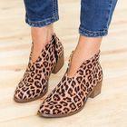 Les plus populaires Leopard Grain Chunky Heel Zipper Ankle Short Boots