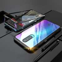 Magnetic Adsorption Shockproof Metal Frame + Tempered Glass Back Cover Protective Case for OPPO R17 Pro