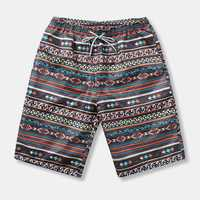 Mens Ethnic Style Pattern Casual Beach Board Shorts