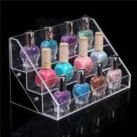 3 Tiers Transparant Acrylic Nail Polish Display Stand Rack Makeup Organizer