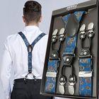 Les plus populaires 125CM Men's Suspenders Braces High Elastic Leather Suspenders Adjustable 6 Clip Belt Strap
