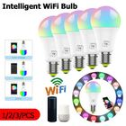 Meilleurs prix 1/2/3Pcs 7W E27 WiFi Smart Light Bulb Dimmable APP Voice Control LED Lighting Bulb Smartphone Control Multicolor Changing Lights Bulbs Home Decor