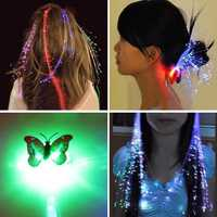 12pcs Novelty LED Shining Hair Braids Barrette Flash LED Fiber Hairpin Clip Light Up Headband Decorations