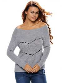 Women Casual Heart Shaped Embellished Long Sleeve Off Shoulder Sweaters