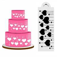 Heart Side Cake Stencil Fondant Designer Decorating Craft Cookie Baking Tool