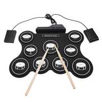 iword G4009 9 Pads Electronic Drum Portable Roll Up Drum Kit USB MIDI Drum with Drumsticks Foot Pedal for Beginners