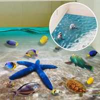 Creative Wall Sticker Cartoon Starfish Dolphin 3D Ocean Beach Floor Stickers Removable Mural Decal