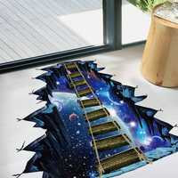 Miico Creative 3D Universe Suspension Bridge Removable Home Room Decorative Wall Door Decor Sticker