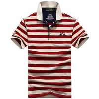 Mens Pure Cotton T-Shirt Stripe Short Sleeve Golf Shirt
