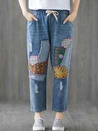 Women Casual Patchwork Elastic Waist Denim Jeans with Pocket