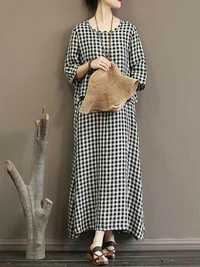 Casual Women Plaid Split Hem 3/4 Sleeve Dress