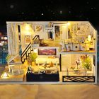 Les plus populaires Time Shadow Modern Doll House Miniature DIY Kit Dollhouse With Furniture LED Light Box Gift