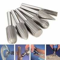 Drillpro 6pcs 6mm Shank Tungsten Steel Rotary File Cutter Engraving Grinding Bit For Rotary Tools