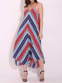 Sexy Women Spaghetti Strap Backless Striped Irregular Hem Boho Maxi Dresses