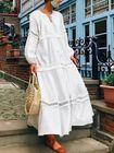 Meilleur prix Women Long Sleeve Hollow Patchwork Loose Casual Swing Long Maxi Dress