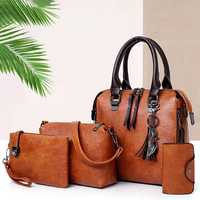 4 PCS Women Faux Leather Elegant Handbag Crossbody Bag