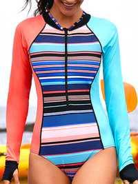 Zipper Front Closure Long Sleeve Surf Swimwear
