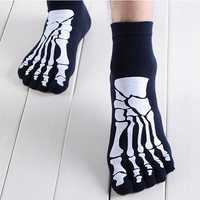 Mens Cotton Five Toes Socks Devil Skull Paw Skeleton Chinese Dragon Cartoon Casual Finger Socks