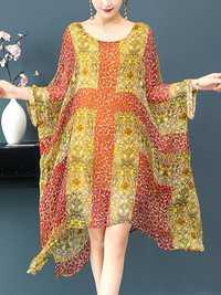Women Floral Print Batwing Sleeves Chiffon Dress